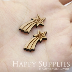 4pcs DIY Laser Cut Wooden shooting star meteor Charms SWC239