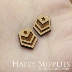 4pcs DIY Laser Cut Wooden Shield Charms SWC249