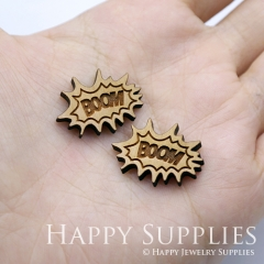 4pcs DIY Laser Cut Wooden Boom Charms SWC261