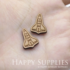 4pcs DIY Laser Cut Wooden Rocket Charms SWC238