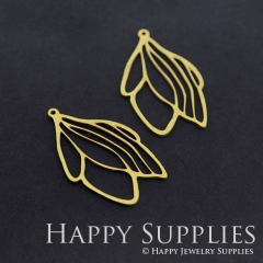 4pcs Raw Brass Leaf Charm Pendant Fit For Necklace Earring Brooch RD316