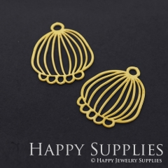 4pcs Raw Brass Lantern Charm Pendant Fit For Necklace Earring Brooch RD322