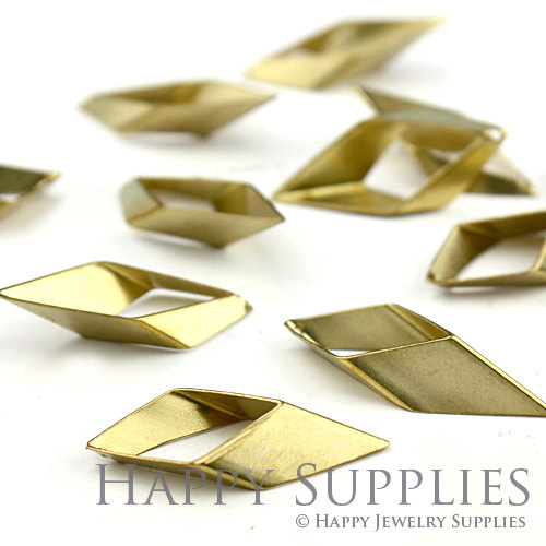 20pcs - 13x31mm High Quality Raw Brass Rhombus Charms with a Hole/ Pendants Connector(ZG144)