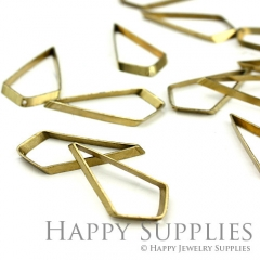 20pcs - 15x30mm High Quality Raw Brass diamond Charms with a Hole/ Pendants Connector(ZG149)