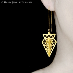 2pcs Raw Brass 3D Geometric Charm with 2pcs Ear Thread Ear Wire For Free (3D004)