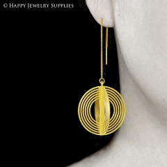 2pcs Raw Brass 3D Geometric Charm with 2pcs Ear Thread Ear Wire For Free (3D001)