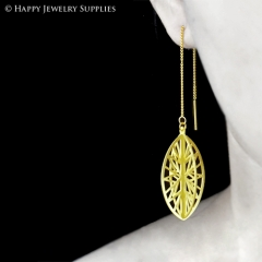 2pcs Raw Brass 3D Geometric Charm with 2pcs Ear Thread Ear Wire For Free (3D006)