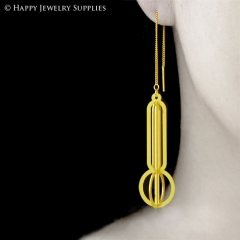 2pcs Raw Brass 3D Geometric Charm with 2pcs Ear Thread Ear Wire For Free (3D018)