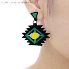 2pcs (1 Pairs) Laser Cut Acrylic Bohemia Geometry Earring Jewelry AGE07
