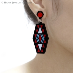 2pcs (1 Pairs) Laser Cut Acrylic Bohemia Geometry Earring Jewelry AGE06