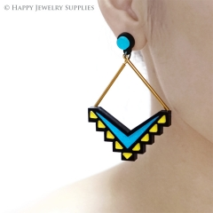 2pcs (1 Pairs) Laser Cut Acrylic Bohemia Geometry Earring Jewelry AGE10