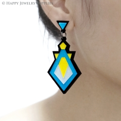 2pcs (1 Pairs) Laser Cut Acrylic Bohemia Geometry Earring Jewelry AGE05