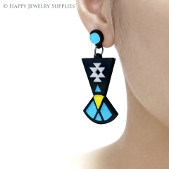 2pcs (1 Pairs) Laser Cut Acrylic Bohemia Geometry Earring Jewelry AGE09