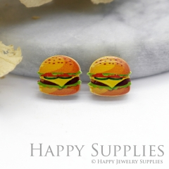 4pcs (2 Pairs) Laser Cut Mini Acrylic Resin Hamburger Laser Cut Jewelry Pendant Charm (AR080)