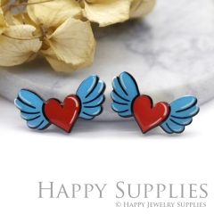 2pcs (1 Pairs) Laser Cut Mini Acrylic Resin Heart Wing Laser Cut Jewelry Pendant Charm (AR115)