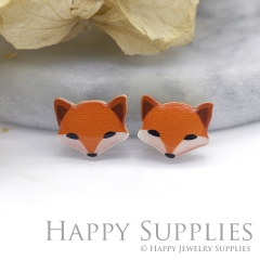 4pcs (2 Pairs) Laser Cut Mini Acrylic Resin Fox Laser Cut Jewelry Pendant Charm (AR079)