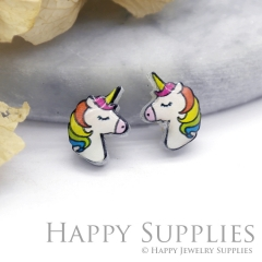 4pcs (2 Pairs) Laser Cut Mini Acrylic Resin Unicorn Laser Cut Jewelry Pendant Charm (AR051)