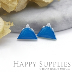 4pcs (2 Pairs) Laser Cut Mini Acrylic Resin Mountain Laser Cut Jewelry Pendant Charm (AR062)