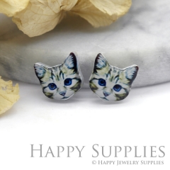 4pcs (2 Pairs) Laser Cut Mini Acrylic Resin Cat Laser Cut Jewelry Pendant Charm (AR096)