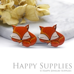 2pcs (1 Pairs) Laser Cut Mini Acrylic Resin Fox Laser Cut Jewelry Pendant Charm (AR110)