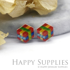 4pcs (2 Pairs) Laser Cut Mini Acrylic Resin Magic Cube Laser Cut Jewelry Pendant Charm (AR049)