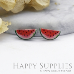 4pcs (2 Pairs) Laser Cut Mini Acrylic Resin Watermelon Laser Cut Jewelry Pendant Charm (AR061)