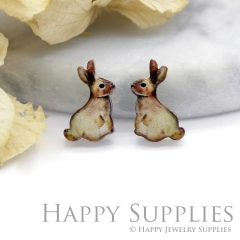 4pcs (2 Pairs) Laser Cut Mini Acrylic Resin Rabbit Laser Cut Jewelry Pendant Charm (AR068)