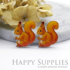 2pcs (1 Pairs) Laser Cut Mini Acrylic Resin Squirrel Laser Cut Jewelry Pendant Charm (AR109)