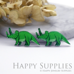 2pcs (1 Pairs) Laser Cut Mini Acrylic Resin Rhinoceros Laser Cut Jewelry Pendant Charm (AR108)