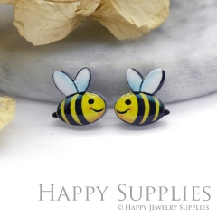 4pcs (2 Pairs) Laser Cut Mini Acrylic Resin Bee Laser Cut Jewelry Pendant Charm (AR099)