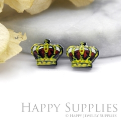 4pcs (2 Pairs) Laser Cut Mini Acrylic Resin Crown Laser Cut Jewelry Pendant Charm (AR087)