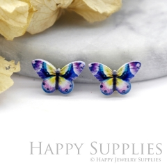 4pcs (2 Pairs) Laser Cut Mini Acrylic Resin Butterfly Laser Cut Jewelry Pendant Charm (AR074)