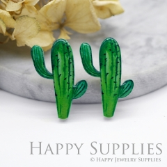 2pcs (1 Pairs) Laser Cut Mini Acrylic Resin Cactus Laser Cut Jewelry Pendant Charm (AR111)