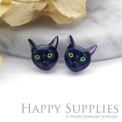 4pcs (2 Pairs) Laser Cut Mini Acrylic Resin Cat Laser Cut Jewelry Pendant Charm (AR073)