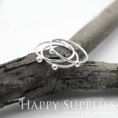 Set 3 Sterling Silver (SS24) dotted skinny stacking rings