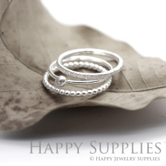 Set 3 Sterling Silver (SS01) dotted skinny stacking rings