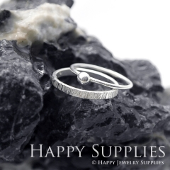 Set 2 Sterling Silver (SS09) dotted skinny stacking rings