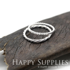 Set 2 Sterling Silver (SS07) dotted skinny stacking rings