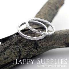 Set 2 Sterling Silver (SS05) dotted skinny stacking rings