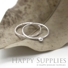Set 2 Sterling Silver (SS25) dotted skinny stacking rings