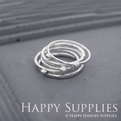 Set 5 Sterling Silver (SS02) dotted skinny stacking rings
