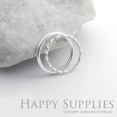 Set 2 Sterling Silver (SS06) dotted skinny stacking rings