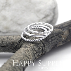 Set 3 Sterling Silver (SS12) dotted skinny stacking rings