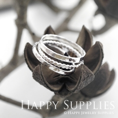 Set 3 Sterling Silver (SS13) dotted skinny stacking rings