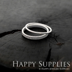 Set 2 Sterling Silver (SS08) dotted skinny stacking rings