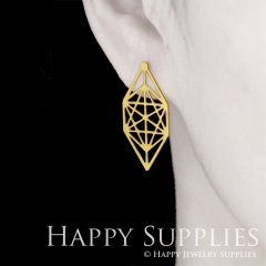 1pair Geometry Golden Silver Rose Golden Brass Earring Post Finding With Ear Studs Back Stoppers ZEN301