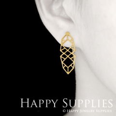 1pair Geometry Golden Silver Rose Golden Brass Earring Post Finding With Ear Studs Back Stoppers ZEN306
