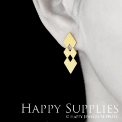 1pair Geometry Golden Silver Rose Golden Brass Earring Post Finding With Ear Studs Back Stoppers ZEN315