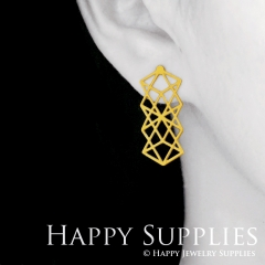 1pair Geometry Golden Silver Rose Golden Brass Earring Post Finding With Ear Studs Back Stoppers ZEN307