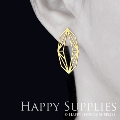 1pair Geometry Golden Silver Rose Golden Brass Earring Post Finding With Ear Studs Back Stoppers ZEN313
